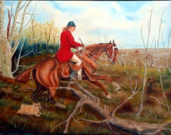 Fox and Hound Large Oil Painting, Custom Portrait, You and YOUR dog