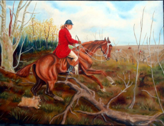 Fox and Hound Oil Painting, Custom Portrait, You and YOUR dog