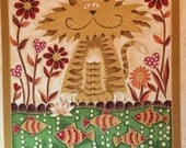 CAT Fancy Cats Fabric Panel Pillow Quilt Square Fish Makower UK OOP