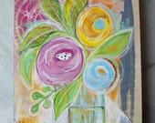 floral, still life, blooms, blossoms, mixed media, original, acrylic, ink, modern