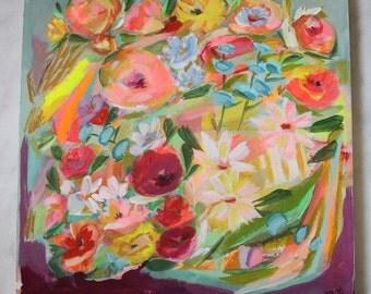 "Floral original art painting on wood 16x16x1"""