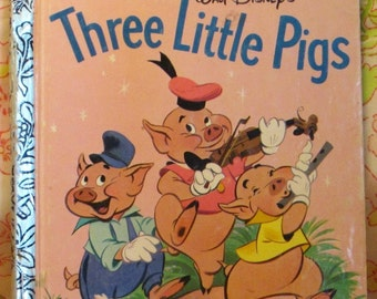Walt Disney's Three Little Pigs a Little Golden Book - Milt Banta and Al Dempster - The Walt Disney Studio - 1990 - Vintage Kids Book