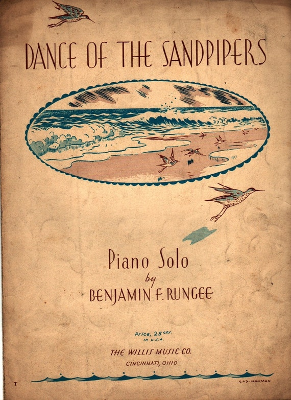 Dance of the Sandpipers Piano Solo - Benjamin F. Rungee - G. & D. Hauman - 1943 - Vintage Sheet Music