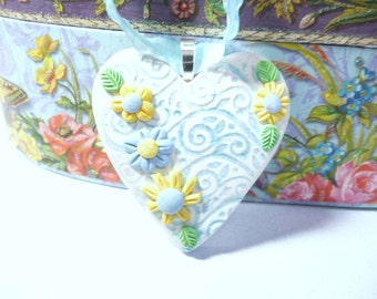 Heart and Flowers Ornament, Wedding Bouquet Charm, Bride Gift, Nature Garden Floral, Hanging Wall Art, White Blue Yellow, polymer clay