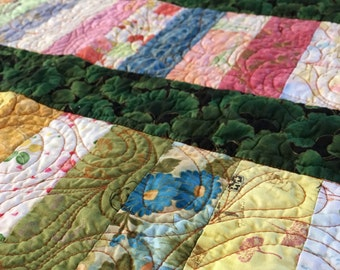 Handmade Patchwork Lap Quilt, Soft Pastel Asian prints with Green Sashing, traditional Chinese Coin Pattern, blanket, lap quilt, throw