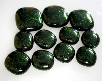 Fused Glass Cabochons, Green Sparkle 14mm to 22mm Lot of 11,  Glass Cabs, Willow Glass