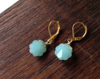 Aqua blossom glass earrings