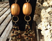Large Dangle Drop Wooden and Glass Bead Earrings