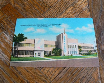 Miami Home Milk Producers Miami Beach Florida Postcard 1950's