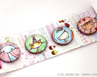 Cats Girl Magnets - Set of 4
