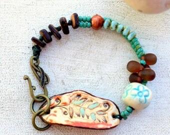 fern jewelry, boho bracelet, multi strand bracelet, leaf bracelet, hippie jewelry, beach boho