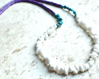 The St Maarten- Turquoise, Howlite and Jade Long Necklace