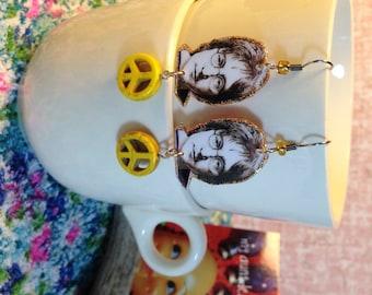 John Lennon Earrings The Beatles Give Peace a Chance hand made