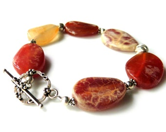 Agate Gemstone Bracelet, Orange Oval Beads, Sterling Silver Toggle Clasp, Autumn Colors, One of a Kind Jewelry Gift for Her, Bright Gemstone