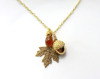 Red Carnelian Leaf Necklace, Acorn and Maple Leaf, Gold Plate Woodland Necklace, Carnelian Leaf on Chain, Rustic Nature Inspired Jewelry
