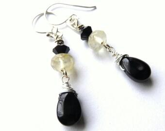 Long Black Dangle Earrings, Wire Wrapped Quartz Sterling Silver Modern Drop Earrings, Black and Silver Teardrop Earrings, Fashion Earrings