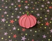 Pink pumpkin enamel pin