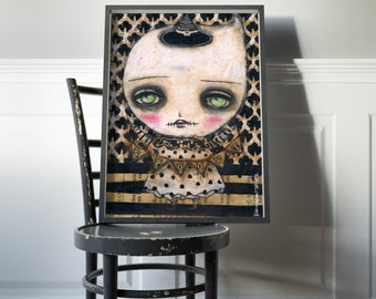 Spooky little ghost girl -   Halloween mixed media painting print Danita Art, whimsical girl mounted on wood or frameable paper print