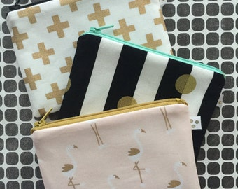 3 piece - Zipper Pouch Set - coin purse - change purse - bag organizer - planner bag - Flamingos - Black and White Stripes - Gold Crosses