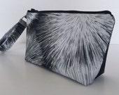 makeup bag  black and white medium size  cosmetic purse  clutch purse  zipper pouch