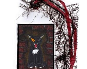 SALE Black Cat Bookmark E A Poe Horror Gothic Cat Bookmarker One Eyed Cat Mini Bookmark Cat Lovers Gift