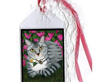 Gray Tabby Bookmark Silver Tabby Cat Bookmarker Azalea Garden Fantasy Cat Art Mini Bookmark Cat Lovers Gift