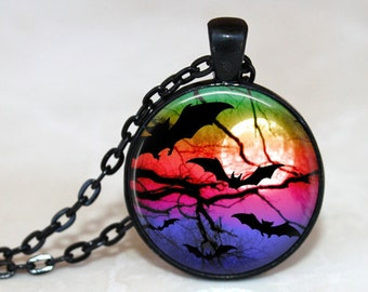 Rainbow Bats Pendant, Necklace or Key Chain - Choice of 4 Bezel Colors - 1 Inch Round