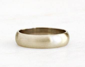 14k gold brushed half round band, recycled wedding band, eco friendly, handcrafted, recycled wedding ring