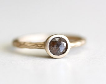 14k yellow gold rustic rose cut diamond ring, brown rose cut diamond, one of a kind