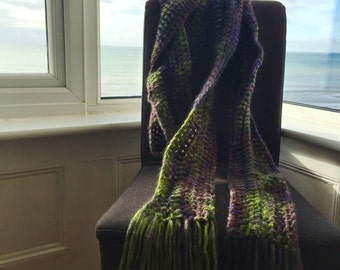 Extra long crochet scarf in elegant purple and green