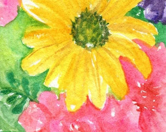ACEO Original Pink Gerber Daisies, Yellow Daisy, Pink Rose Painting Gerbera Art Card, mixed floral bouquet, flowers painting