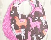 Baby Bibs for Girl  - Set of 2 Triple Layer Chenille  - Llamas, Pink, Tangerine, Gray, Polka Dots- ALPACAS & DITSY DOTS