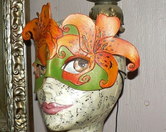 Tiger Lily  Tigerlily Leather Mask,  Flower fairy mask by Faerywhere