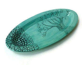 Long Oval Tray with Doodle Design - Turquoise Black