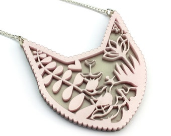 Cat Necklace - filigree acrylic flower fern laser cut necklace pink white pearlised pearl crazy cat lady