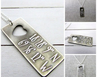 GPS Coordinates Necklace in Sterling Silver with Heart by Eriadesignstoo