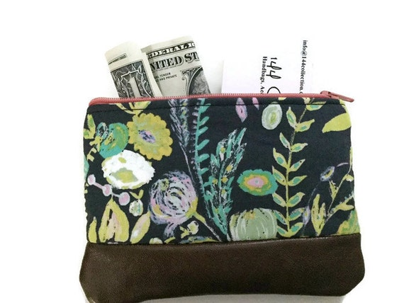 Grey Floral Leather Coin Purse, Coin Pouch, Small Change Wallet, Women's Purse Wallet