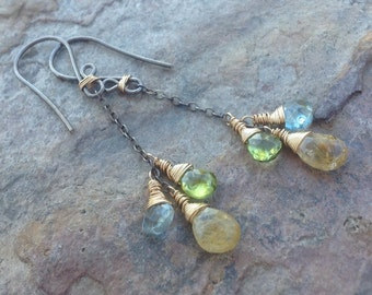 Multi GEMSTONE earrings AQUAMARINE, Rutilated Quartz, Peridot, sterling silver 14k gold filled mixed metal