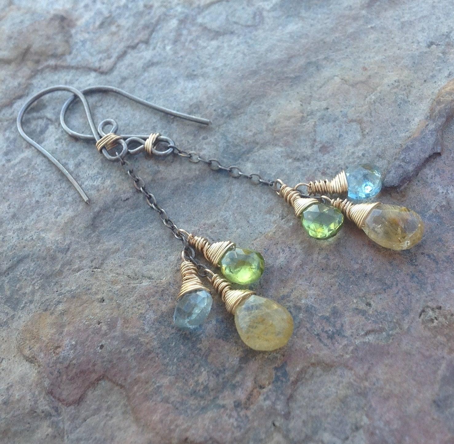 Aquamarine Gemstone Earrings: Multi GEMSTONE Earrings AQUAMARINE Rutilated Quartz Peridot