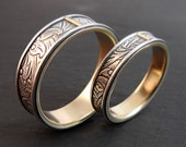 Wedding Ring Set - Sunflower Pattern Sterling Silver and 14k Yellow Gold Bands - Handmade in Seattle