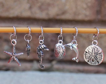 A day At The Beach Knitting Stitch Markers (Set of 6)