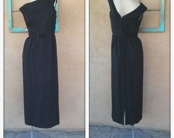 Vintage 1960s Evening Gown Black Dress Silk Chiffon US4 B34 W26 2014566