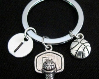 Basketball Keychain Basketball Keyring Antique Silver Basketball Charm Keychain Personalized Initial BasketBall Gift Free Shipping in USA