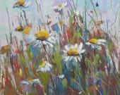 Field of DAISIES Nantucket Wildflowers 4x4 Original Pastel Painting