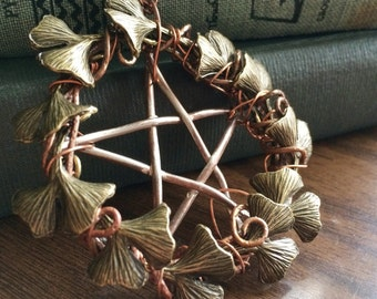 Ginkgo Wreath Pentacle Necklace
