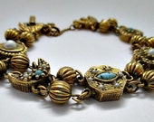 Goldette Charm and Bead Vintage Bracelet -Mid Century Goldette Jewelry