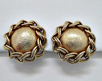 Vintage Clip On Earrings - 1960's Gold Tone Button Earrings