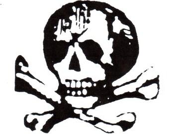 Skull & Crossbones Red Rubber Stamp-LARGE-Original design 03107, halloween rubber stamp, pirate rubber stamp