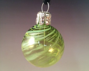 Blown Glass Ornament in Green. Christmas Ornaments and Year-round.