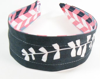 Wide Headband Reversible - Graphic Coral and Organic Gray